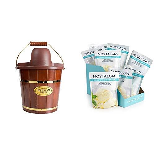 New Nostalgia ICMW400 4 Quart Wood Bucket Ice Cream Maker with 8 packs of Premium Vanilla Creme Ice ...