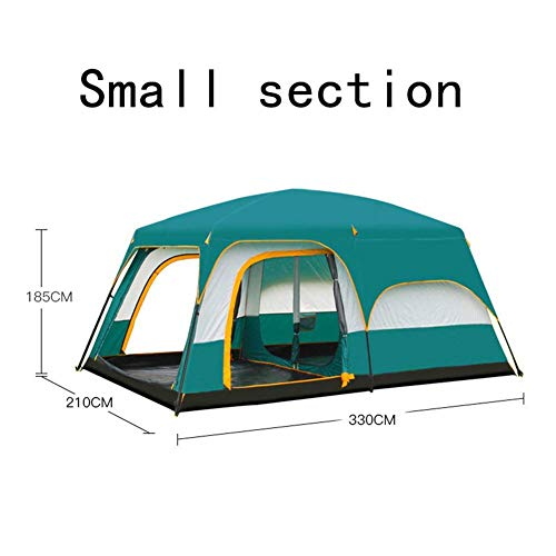 CCJW Two rooms, one hall, tent, outdoor camping, 6 people, 8 people, 10 people, 12 people, two rooms, one hall, multi-person rainproof tent,Big (Size : Small) kshu