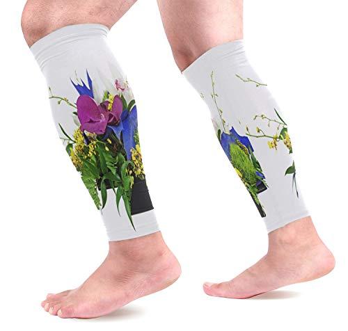 Sport Wadenbandage Waden Kompressionsstrümpfe Blumenstrauß von Orchideen zur Leistungssteigerung und Abhilfe bei Schienbeinkantensyndrom