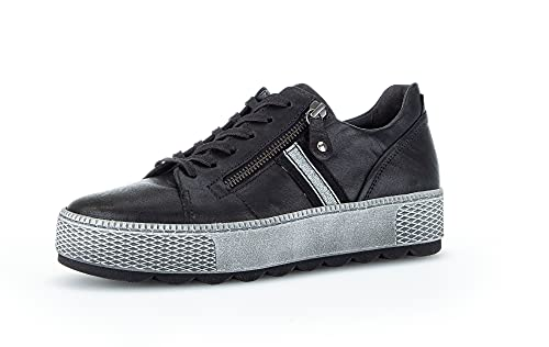Gabor Damen Low-Top Sneaker, Frauen Halbschuhe,Wechselfußbett,Moderate Mehrweite (G),Freizeitschuhe,Turnschuhe,schwarz (Fu.schw.),39 EU / 6 UK