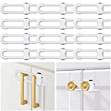12 Packs Baby Proofing Sliding Cabinet Locks Tuceyea U-Shaped Child Safety Latches Adjustable White Locks for Handles Knobs Drawers Closet Cupboard