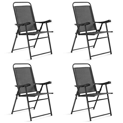 Costway Lot de 4 Chaises de Jardin Pliantes et Portables avec Accoudoirs, Siège en Textilène Respirante Confortable, Cadre en Acier pour Jardin, Terrasse ou Bord de la Piscine,Balcon, Gris Foncé