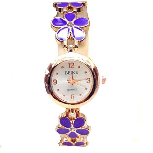 Damen-Armbanduhr in kompatibel mitm eines Bettelarmbands, Blumen-Motiv, vierblättrige Kleeblätter in Lila, Freizeituhr, Schmuckuhr, Lila