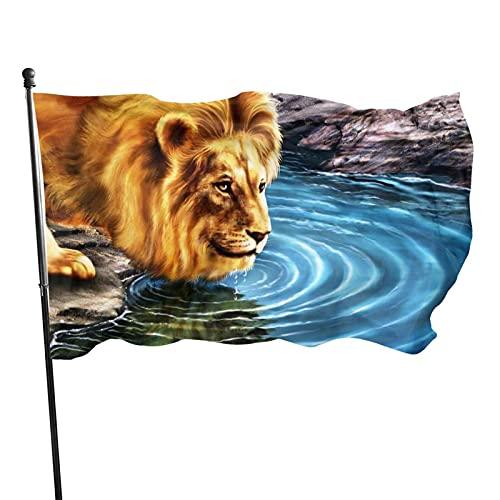 GOSMAO Bandera de jardín Bandera de jardín de casa León para Beber Color Vivo y Resistente a la decoloración UV Bandera de Patio de Doble Costura Bandera de Temporada Bandera de Pared 3x5 pies