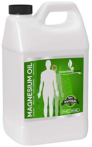 Magnesium Oil Spray - Large Half Gallon (64oz Size) - Extra Strength - 100% Pure for Less Sting - Less Itch - Natural Pain Relief & Sleep Aid - Essential Mineral Source - Made in USA