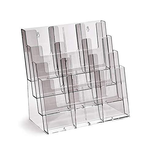 Prospekthalter DIN A4 / A5 / DIN lang vierstufig Aufsteller Prospektständer Flyerhalter Acryl glasklar Prospekthalter
