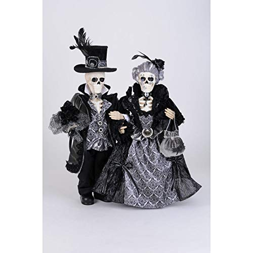 Karen Didion Originals Percy & Lily Skeletons Figurine, Pair - Handmade Halloween Holiday Home Decorations and Collectibles