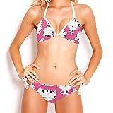 TIZORAX Niedliche Katze in rosa Triangel-Bikini-Set Badeanzüge sexy Badeanzug für Frauen Mädchen, L Gr. S, mehrfarbig