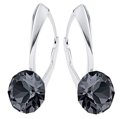 Crystals&Stones, Xirius - Orecchini pendenti da donna in argento 925 con cristalli Swarovski, con scatola per gioielli (PIN/75) e Argento, colore: Argento notte, cod. 7