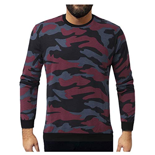 Kiminana Winter Men Fashion Casual Camouflage Round Collar Long Sleeve Pullover Tops Outdoor Comfy Sportswear Tunic