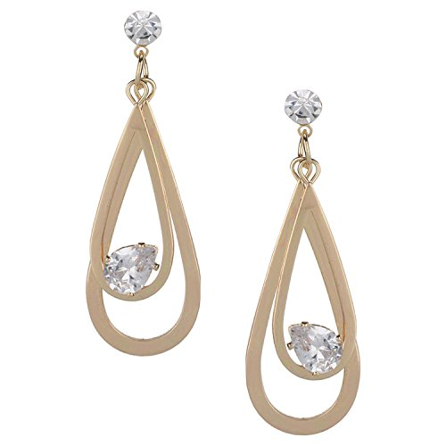 Efulgenz Gold Tone CZ Solitaire Studs with Twisted Tear Drop Geometric Charm Dangle Drop Hoop Earrings for Girls and Women, Wedding Bride Bridesmaids