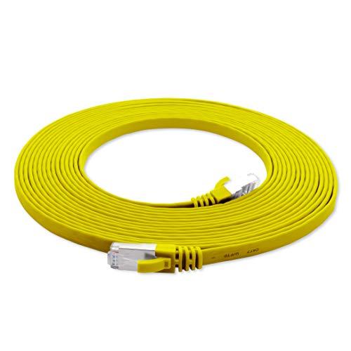 1aTTack.de 15m - geel - 1 stuk CAT.7 platte kabel netwerkkabel ruwe kabel Gigabit Lan (10Gbit / s) platte kabel installatiekabel plat slank