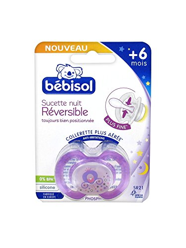 Bébisol - Chupete de noche reversible de silicona + 6 meses SR21, diseño de princesa, color morado