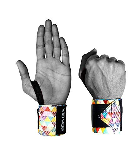 WOD Wear Elastic Wrist Wraps for Powerlifting, Strength Training, Bodybuilding, Cross Training, Olympic Weightlifting, Yoga Support - One Size Fits All - 100% (Diamond)
