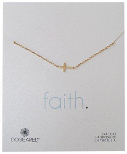 Dogeared Faith Basic Cross Carded Bracelet Gold Dipped