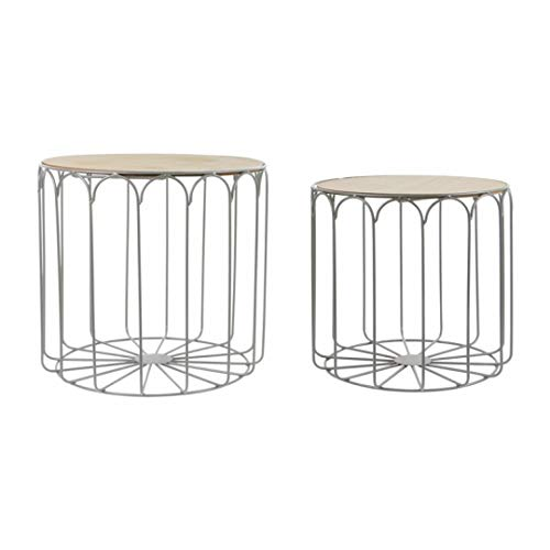 ZONS - Juego de 2 mesas, diseño de nido de metal, color gris