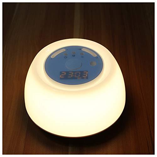 FXQ Wecker Sunrise Wake-up Light, Schlafmittel mit intelligenter Snooze-Funktion Bunte LED-Touch-Elektronik-Uhr-Nachtlicht mit FM-Radio