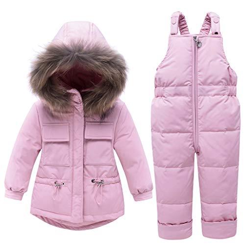 Bebé Invierno Traje de Esquiar Niñas Abrigo de Plumón con Capucha Pantalones de Nieve 2 Piezas Niños Conjunto de Ropa Rosado 3-4 Años