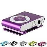 Reproductor MP3 Running | MP3 Player con clip | Mini reproductor MP3 con clip de metal y ranura para memoria externa Micro SD no incluida (morado)