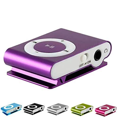 Lettore Mp3 Running | Mp3 Player Con Clip | Mini Lettore Mp3 Con Clip In Metallo E Slot Per Memoria Esterna Micro Sd Non Inclusa (viola)