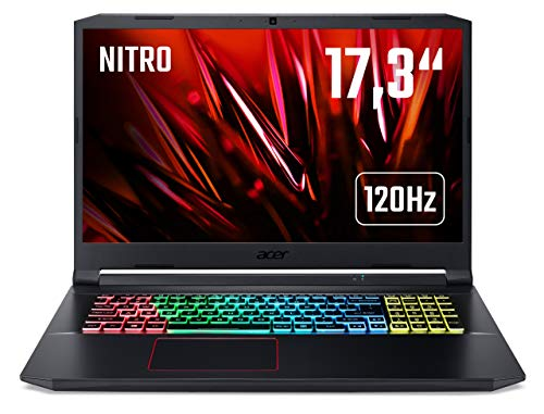 Acer Nitro 5 (AN517-52-7335) 43,9 cm (17,3 Zoll Full-HD IPS 120 Hz matt) Gaming Laptop (Intel Core i7-10750H, 16 GB RAM, 512 GB PCIe SSD, NVIDIA GeForce RTX 2060, Win 10 Home) schwarz/rot