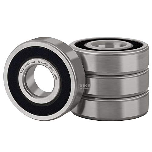 XiKe 4 Pcs 6305-2RS Double Rubber Seal Bearings 25x62x17mm, Pre-Lubricated and Stable Performance and Cost Effective, Deep Groove Ball Bearings.
