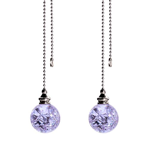 2PCS Purple Pull Chain Crystal Glass Ice Cracked Ball Pull Chain for Ceiling Fan Light Decoration 50cm Extension Chain