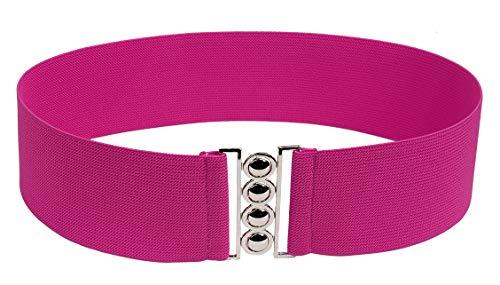 Modeway Women 3inch Fashion Wide Belt Elastic Stretch Waist Belt , Metal Buckle Waistband (XL-XXL, Fuchsia)A6-3