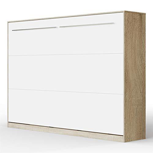 SMARTBett Standard 140x200 Horizontal Eiche Sonoma/Weiss Schrankbett | ausklappbares Wandbett, ideal geeignet als Wandklappbett fürs Gästezimmer, Büro, Wohnzimmer, Schlafzimmer