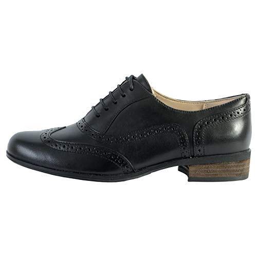 Clarks Damen Hamble Oak_Derby, Schwarz (Black Leather), 38 EU