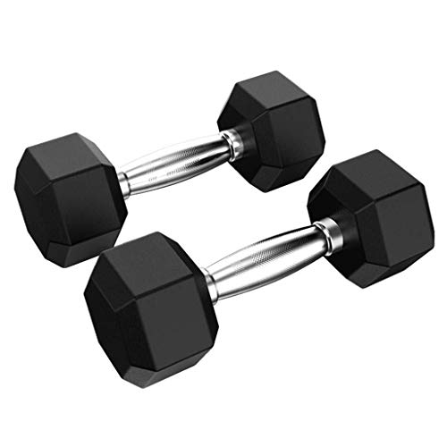 xy Barbell de 2 Piezas de Goma Hex Dumbbell Set, manija del Metal, del Entrenamiento y de la Aptitud con Mancuernas (tamaño : 5 lbs)