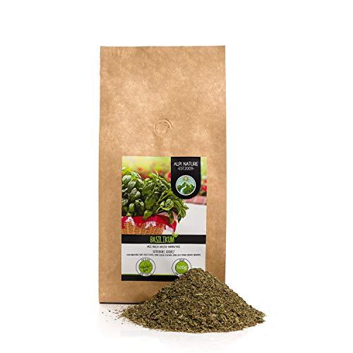 Basilico grattugiato (500g), basilico essiccato delicatamente, puro al 100% e naturale per la preparazione di miscele di spezie