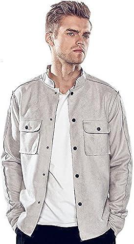 Vjibmt Hommes Hommes Double Manche de Veste Collier Poche de Veste Collier ou Loisirs,gris Clair,XL