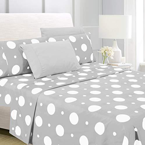 American Home Collection 6 Piece Bed Sheet Set Super Soft Brushed Microfiber - 14' Deep Pocket - Wrinkle Resistant - Hypoallergenic (King, Grey Polka Dot)