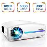Vidéoprojecteur, WiMiUS 6000 Lumens Rétroprojecteur Full HD 1920 x 1080P Natif Vidéo Projecteur Soutien 4K Réglage...