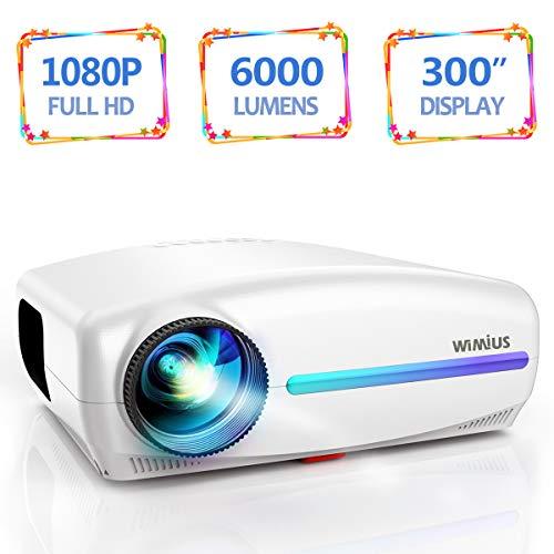 Vidéoprojecteur, WiMiUS 6000 Lumens Rétroprojecteur Full HD 1920 x 1080P Natif Vidéo Projecteur...