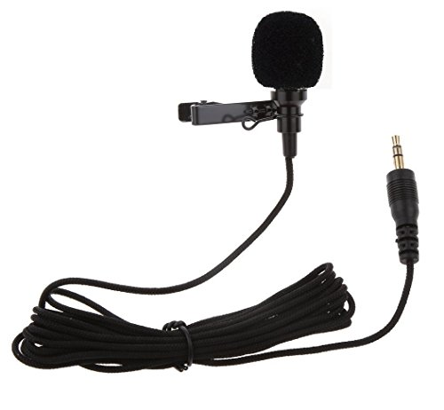 Rewy 3.5MM Clip on Mini Tie Lapel Lavalier Microphone for All Devices (Black)