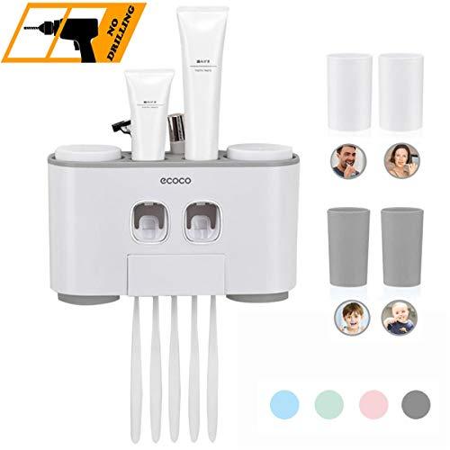 Automático Dispensador de Pasta de dientes y juego de porta Cepillos de dientes, Juego de Accesorios de baño montado en la pared auto-adhesivo, 2 Exprimidores 4 Tazas 5 Portaescobillas, Gris