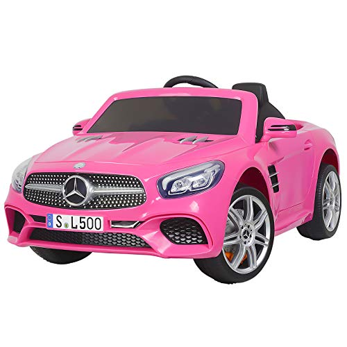 Uenjoy 12V Kids Ride On Car Electric Cars Motorized Vehicles for Girls, with Remote Control, Music, Horn, Spring Suspension, Safety Lock, Compatible Mercedes-Benz SL500 ,Pink