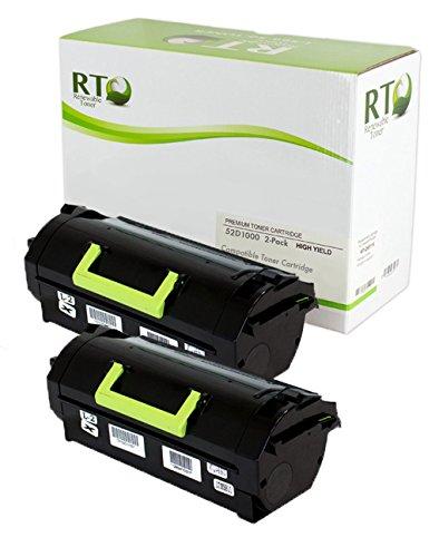 Renewable Toner Compatible Toner Cartridge Replacement for Lexmark 521 52D1000 MS810 MS811 MS812 (Black, 2-Pack)