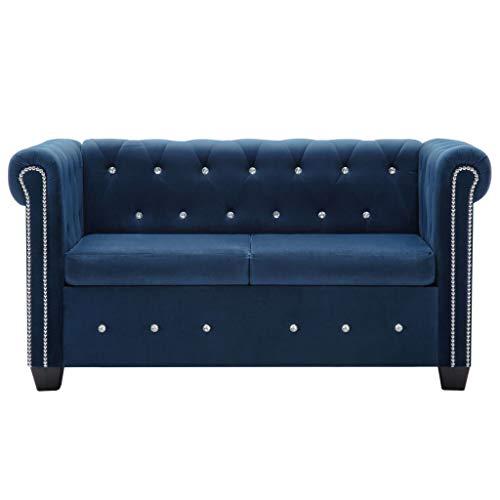 Tidyard 2 Sitzer Chesterfield Sofa Cube Sofa mit Kristall-Knöpfen und Dick Gepolsterte, Samtbezug 146 x 75 x 72 cm Blau