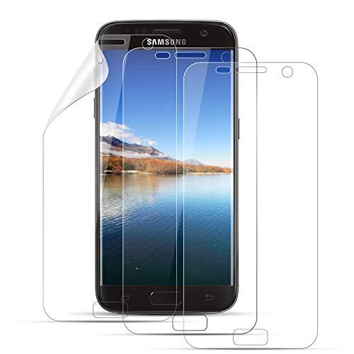 Mriaiz Schutzfolie für Samsung Galaxy S7, [3 Stück] Hohe Qualität TPU Weich Folie [Full Coverage] [Anti-Kratzer] [Ultra-Klar] TPU Folie Displayschutzfolie für Samsung S7 (Nicht Panzerglas)