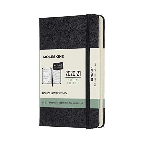 Moleskine - 18-Monats-Kalender/Planer 2020/2021, Taschenplaner auf Deutsch, Wochenkalender mit festem Einband, Format Pocket/A6 9 x 14 cm, Farbe Schwarz, 208 Seiten