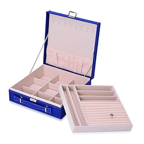Royal Blue - Maletín de terciopelo con 2 estantes para joyas, organizador con interior antideslustre y protección contra arañazos, aproximadamente 60 anillos