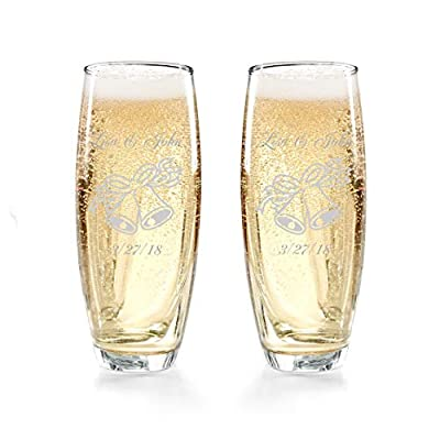 Gifts Infinity Engraved Wedding Champagne Flutes Set of 2 Personalized Toasting Glasses