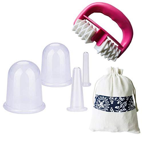 IAMXXYO 5Pcs Anti-Cellulite Cup Set Silicone Emboutissage Thérapie Visage Vide Emboutissage Corps Coupe Massage Rouleau pour Drainage Lymphatique Et Soins De Santé,Blanc