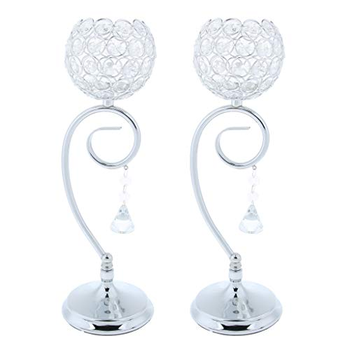 Kaarsenstandaarden Crystal Beaded Glass Tea Light kaarshouder eettafel Verlichting Houder Lamp Decor Festival 2Pcs Kandelaar