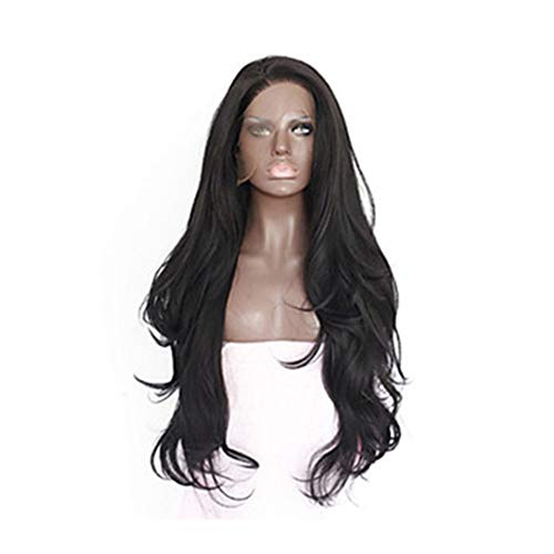 L.W.S Wigs Wigs Natural Black Chemical Fiber Wig Front Lace Can Be Hot Dyed High Temperature Silk Long Bangs Long Curly Hair Big Wave Wig Wigs