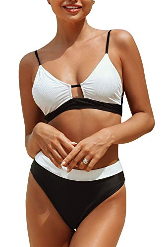 CUPSHE Women's High Waisted Bikini Set Colorblock Adjustable Straps Two Piece Swimsuits, L Black White