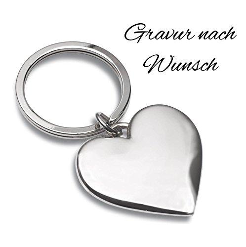 Laser Tattoo Schlüsselanhänger Herz Silber mit Gravur nach Wunsch - Ideal als Geschenkidee am Valentinstag oder für Verliebte